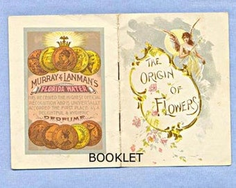 Booklet for Florida Water Perfume, 'Origin of Flowers', Angels, Illustrated Poem Story, 1880s