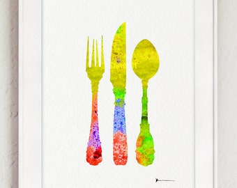 Cutlery Set Silhouette, Kitchen Illustration, Fork Knife Spoon Art, Colorful Wall Decor