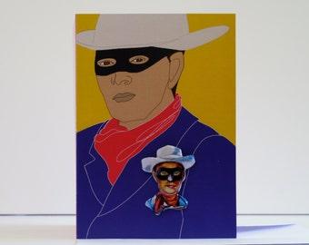 Cowboy card. Vintage tin Lone Ranger badge.
