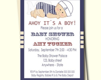 DIY Nautical Baby Shower Invitation- Nautical Theme Baby Shower- Red White and Blue- Baby Boy Sailor Invite- Ahoy It's A Boy Printable