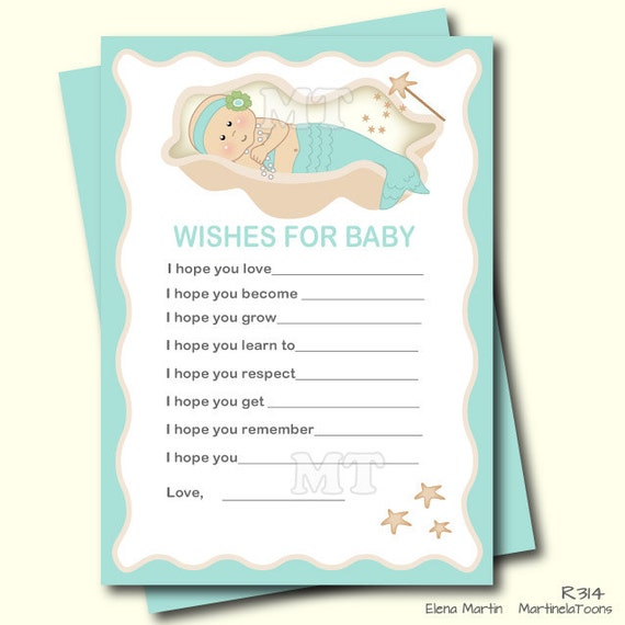 wishes for baby card mermaid girl well wishes baby shower games