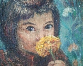 GIRL WITH FLOWER,oil painting on canvas panel,girl and flowers,chrysanthemum,yellow flower, wooden frame,framed oil painting,nice face