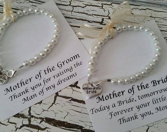 Mother of the Bride & Mother of the Groom pearl bracelet gift set