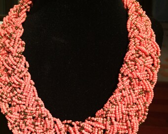 Handmade Braided Necklace/Beaded Necklace/Seed Bead Necklace/Statement Necklace/Peach PInk Necklace