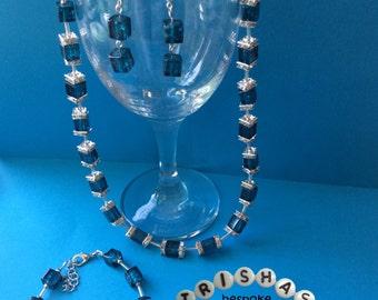 Necklace, Earrings and Bracelet set, blue