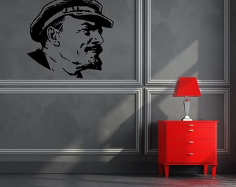 Wall decal Lenin, Lenin wall sticker, Communist wall sticker, Vinyl wall sticker, Wall stencil, Wall decoration, ussr sticker