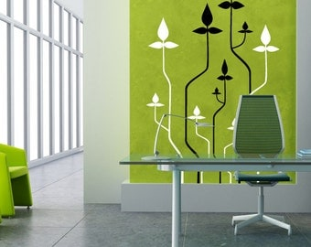 Wall decal Tech Plants, Plant wall sticker, Flower wall sticker, Vinyl wall sticker, Wall stencil, Wall decoration