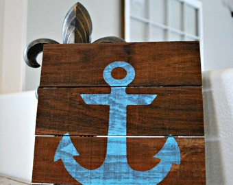 """Reclaimed Rustic Wood Sign with Nautical Blue Anchor Perfect for Children's Room or Nursery 10""""x12"""""""