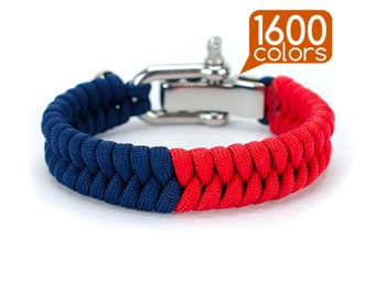 Adjustable paracord bracelet - Adjustable cord bracelet «50/50» with real stainless steel buckle. Top quality, teg, box, 1600 colors!