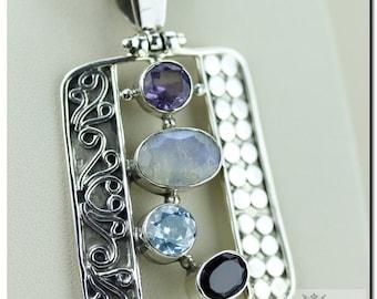 Unique Filigree Setting!! Moonstone AQUAMARINE Garnet Amethyst 925 SOLID Sterling Silver Pendant + 4mm Snake Chain & FREE Worldwide Shipping
