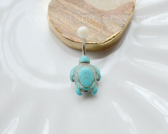 Turquoise tortoise belly button ring, tortoise Navel Piercing, friendship belly rings, Belly Button Piercing, Belly jewelry, Body jewelry