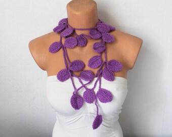 Purple Leaf Scarf Crochet Lariat Scarf