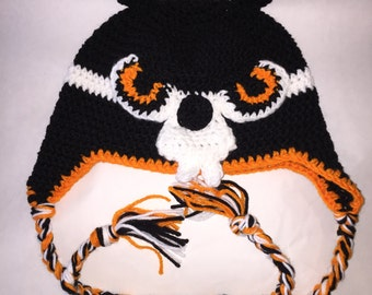 Oregon State Beaver Hat, Oregon beavers ear flap hat with braids
