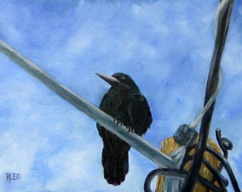 Waiting in Kilmollock, Irish subject, Ireland, crows, Co Limerick, 9 x 12, original art, oil painting