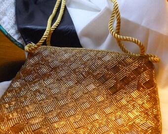 Vintage 80's Gold beaded evening bag
