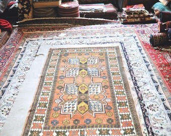 Vintage 3.9 x 6.5 Hand-Knotted Persian Rug