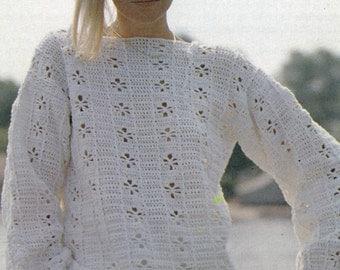 Pattern Only: Vintage Openwork Daisy Sweater Intermediate Crochet Pattern - 1988 - PDF Download