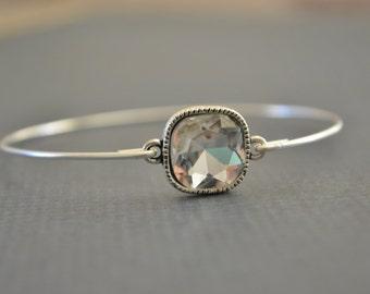 BIG SALE-Silver Rhinestone Bangle- Personalized Bracelet- Crystal Bangle- Bridesmaids Jewelry Gifts- Love Bangle- Stacked Bangles-