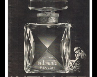"Vintage Print Ad 1960's : Revlon Intimate Parfum Perfume ""Extraordinary what a drop of paris can do"" Wall Art Decor 8.5"" x 11"" Advertisement"