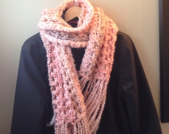Chunky Crochet Scarf - Coral