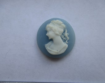 16mm Round Carved Wedgewood Blue Celluloid Cameo. Item:BC818421