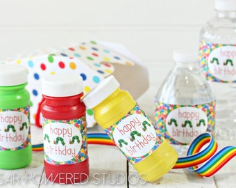 Very Hungry Caterpillar Party Label, Bubble Wrapper, Water Bottle Label, Kids Party, Caterpillar Party Label,  Party Favor, INSTANT DOWNLOAD