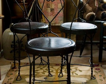 Vintage Wrought Iron Ice Cream Parlor Chairs Bistro Chairs