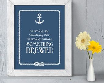 Wedding Bar Sign DIY Printable // Nautical Wedding Sign // Anchor & Rope Infinity Knot // Something Brewed ▷ Instant Download