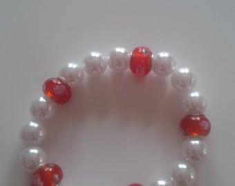Red & White Beaded Bracelet  (#75)