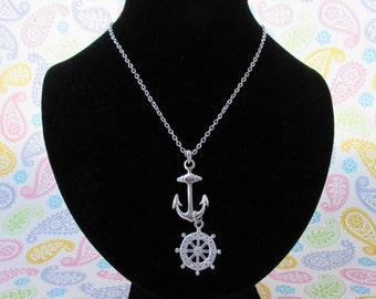 Necklace, Silver Necklace, Rhinestone Necklace, Anchor Necklace With long Chain, Lobster Claw Clasp Closure,Anchor Wheel Necklace
