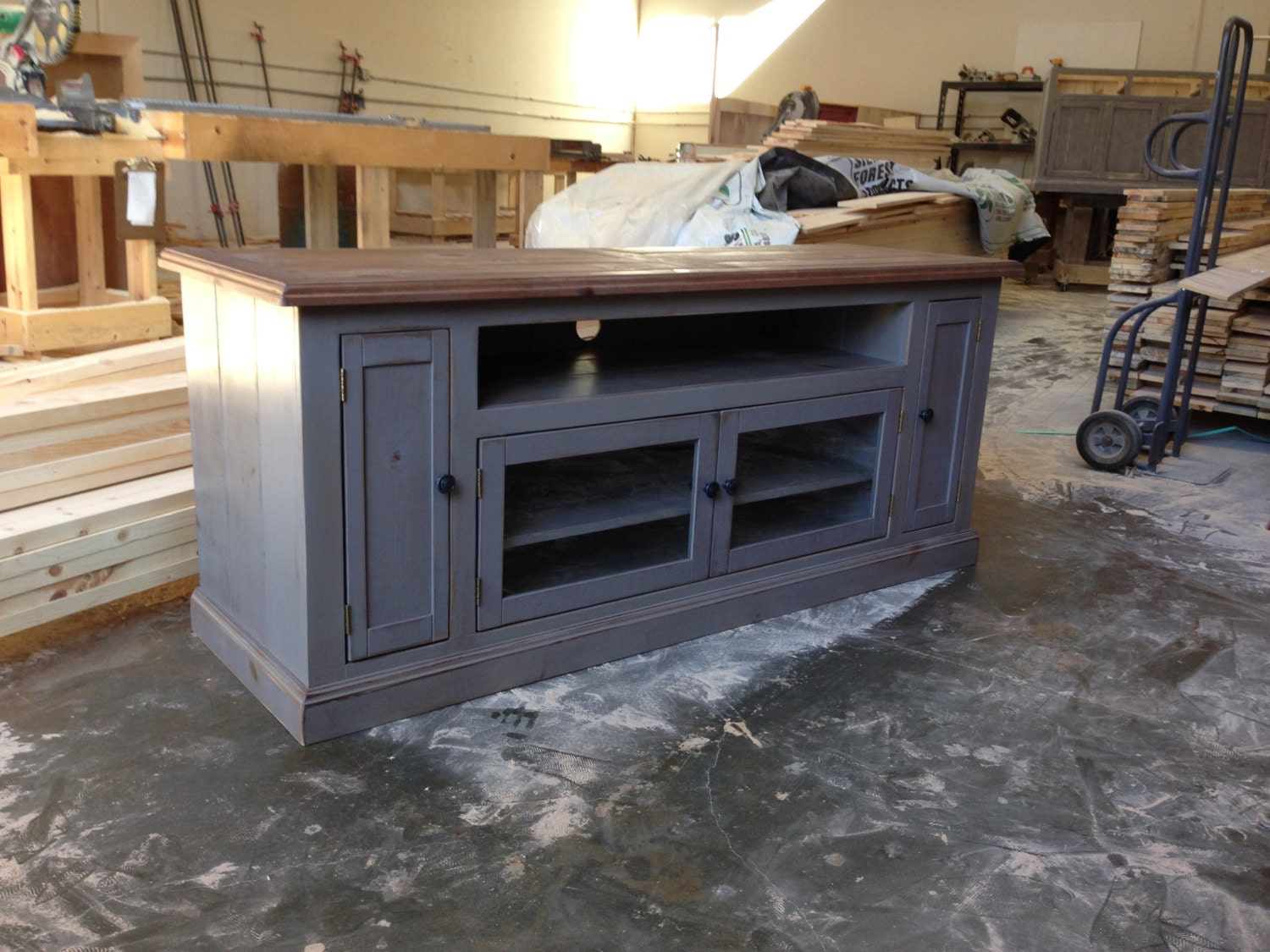 Rustic Media Console Side View. Image Is Loading Rustic. Zoom