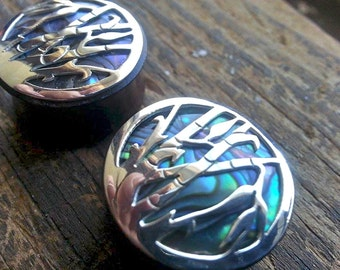 """13/16"""" (20mm) Sono WOOD with ABALONE Shell inlay and BRASS Bamboo Design Double Flare Plug Gauge Earring"""