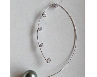 Pendente oro e diamanti con perla Tahiti nera // Diamonds & gold pendant with black Tahitian pearl