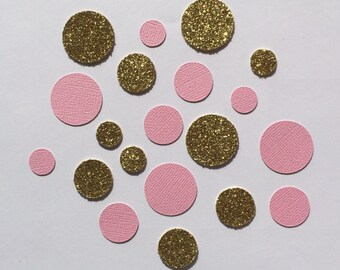 Pink and gold Confetti. Perfect for weddings, engagement parties, bridal showers, birthdays, baby showers, parties. Glitter confetti.
