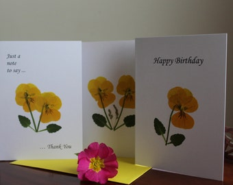 Handmade Greeting Cards ~ Thank You ~ Happy Birthday ~ Blank  ~ Pressed flowers ~ Pansy Collection ~ Irish wild flowers ~ Set of 3 ~