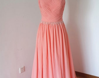 2015 V-back Light Coral Chiffon Beaded Long Prom Dress with Long Train