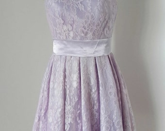 2015 Scoop Lilac Lace Short Bridesmaid Dress