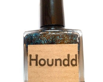 Greyhound - Black Blue Glitter Nail Polish - Handmade Indie Polish 10ml by Houndd Nails