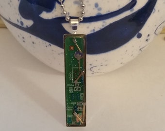 Computer Recycled Necklace, Green Circuit Board Necklace, Rectangle Pendant, Motherboard Necklace