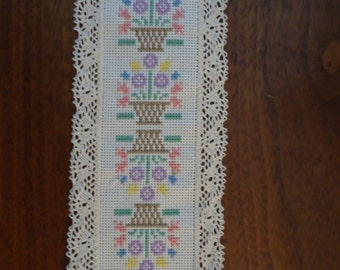 Baskets of Flowers Cross-Stitch Bookmark