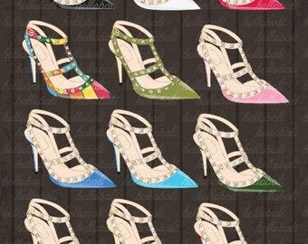 Valentino Rockstud Patent Leather T-Strap Pump, Shoes Clipart, Clip Art, High Fashion, Style, Couture, Designer, Noir [Instant Download]
