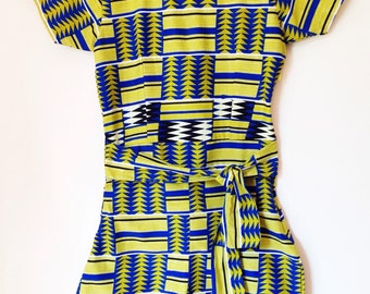 Philomina African Playsuit - Lime and blue geo
