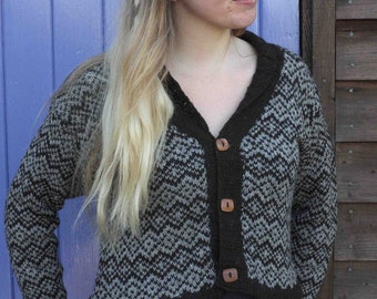 Chunky Fair Isle Cardigan handmade from pure Shetland wool