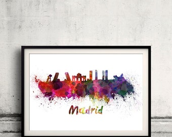 Madrid skyline in watercolor over white background with name of city 8x10 in. to 12x16 in. Poster Wall art Illustration Print  - SKU 0313