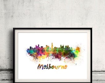 Melbourne skyline in watercolor over white background with name of city 8x10 in. to 12x16 in. Poster Wall art Illustration Print  - SKU 0318