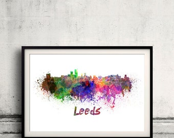 Leeds skyline in watercolor over white background with name of city 8x10 in. to 12x16 in. Poster Wall art Illustration Print  - SKU 0332