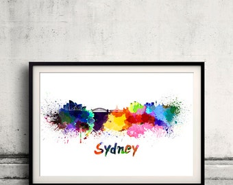Sydney skyline in watercolor over white background with name of city 8x10 in. to 12x16 in. Poster Wall art Illustration Print  - SKU 0345