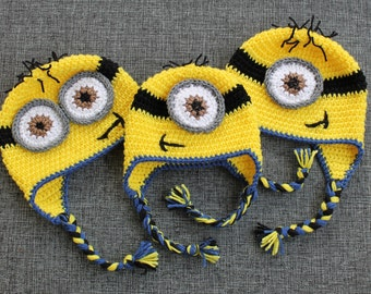 Minion Hats - Despicable Me - Handmade to Order - Newborn to Adult