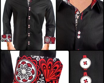 Men's Black with Red Designer Dress Shirt - Made To Order in USA