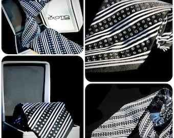 Black Rhinestone Italian Silk Tie in Faux Leather Box